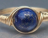 Lapis Lazuli 14k Gold Filled Custom Sized Wire Wrapped Gemstone Ring