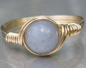 Angelite Custom Sized Ring 14k Gold Filled Wire Wrapped Ring