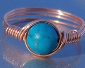 Blue Howlite Copper Wire Wrapped Ring Custom Sized