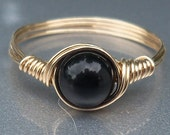 Black Obsidian 14k Gold Filled Wire Wrapped Ring Custom Sized For You