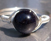 Large Blue Goldstone Argentium Sterling Silver Wire Wrapped Ring