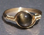Gold Sheen Obsidian 14k Gold Filled Wire Wrapped Ring