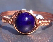 Plum Fossil Stone Wire Wrapped Ring in Copper- Custom Sized