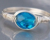 Light Aqua Czech Glass Argentium Sterling Silver Or 14k Gold Filled Wire Wrapped Ring
