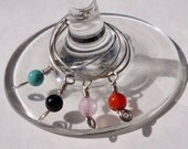 Stone Wine Glass Charms- Set of Four Stones