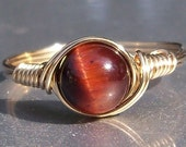 Red Tigers Eye 14k Gold Filled Wire Wrapped Ring