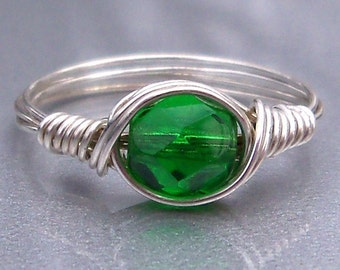 Emerald Czech Glass Argentium Sterling Silver Wire Wrapped Ring