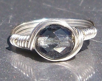 Midnight Czech Glass Argentium Sterling Silver Wire Wrapped Ring