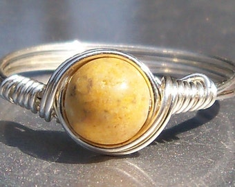 Aragonite Argentium Sterling Silver Wire Wrapped Ring