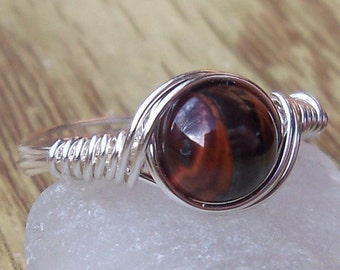 Red Tigers Eye Argentium Sterling Silver Wire Wrapped Ring