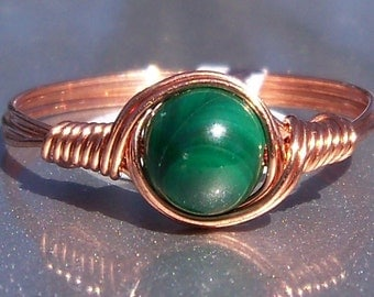 Malachite Wire Wrapped Ring in Copper Custom Sized