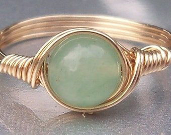 Green Aventurine Ring,  14k Yellow Gold Filled Ring, Custom Sized Ring, Wire Wrapped Stone Ring