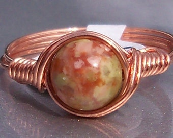 Autumn Jasper Copper Wire Wrapped Stone Ring