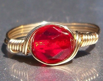 Ruby Red Czech Glass 14k Yellow Gold Filled Wire Wrapped Ring