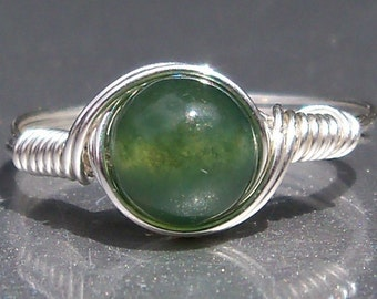 Moss Agate Argentium Sterling Silver Wire Wrapped Ring