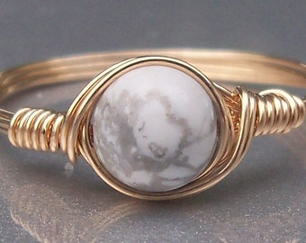 White Howlite 14k Yellow Gold Filled Wire Wrapped Ring