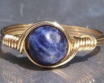 Sodalite 14k Yellow Gold Filled Wire Wrapped Ring