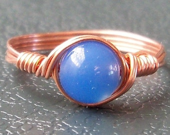 Blue Agate Custom Sized Copper Wire Wrapped Ring