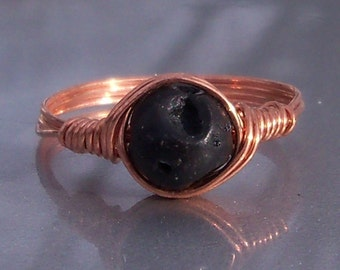 Basalt-Lava Rock Copper Wire Wrapped Ring