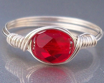 Ruby Red Czech Glass Argentium Sterling Silver Wire Wrapped Ring