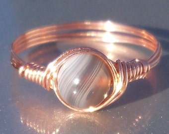 Gray Botswana Agate Copper Wire Wrapped Ring
