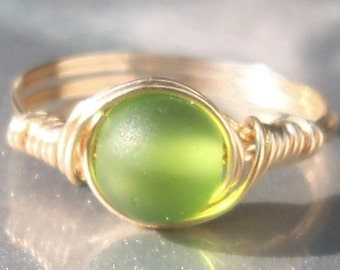 Leaf Green Faux Sea Glass14k Yellow Gold Filled Wire Wrapped Custom Sized Ring