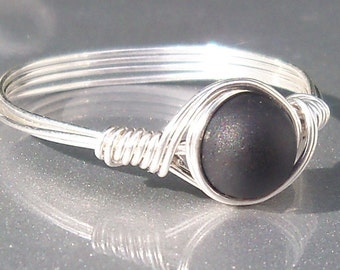 Black Faux Sea Glass Argentium Sterling Silver Wire Wrapped Custom Sized Ring