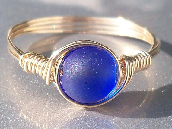 Cobalt Blue Faux Sea Glass14k Gold Filled Wire Wrapped Custom Sized Ring