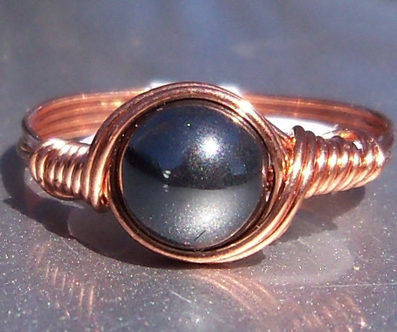 Hematite Copper Wire Wrapped RIng