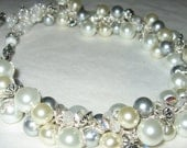 Bridal Wedding Statement Necklace, Pearl Crystal Snow White, Ivory, Bali Silver Grey  Luster Pearl, by Sereba Designs on Etsy