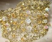 Golden Ice Sparkle/ Lacy Wire Knit Mesh Cuff / Sereba Designs on Etsy-Handmade  Bracelet
