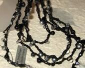 Crochet Black Beaded Crystal Rope Necklace,  Layered Wrap Boho Bracelet / Lariat  Necklace Smokey Quartz, Hematite