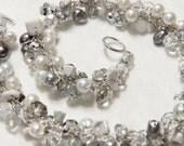 Romantic Winter White Wedding, Arctic Snow, Smokey Crystal Ice, Freshwater Pearls, Bridal Wedding Necklace, Unique Hand Knit Twist Original