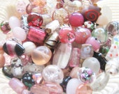 Czech Glass Bead Assortment, Lamp Work, RASPBERRY ROSE CREAM - Pink, Frosty Pearl, White, Black, Grey - Hand Selected Decorative Variety Mix