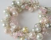 Fairy Tale Wedding Bracelet, Pearl Crystal, SWEET  PINK FROST, Ivory, White, Gray, Hand Knit  Cluster Twist , Sereba Designs