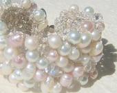 Freshwater Pink Rose, White, Ivory, Pearl Crystal Hand Knit Bridal Statement Bracelet Cuff, Exclusive Original, Sereba Designs