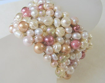 Bridal Wedding Statement Cuff Wide Bracelet, Oyster, English Tea Rose, Pale Pink, Peachy Mauve, Gold, Freshwater  Pearl, Hand Knit Original