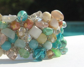 "Destination Beach Wedding, Bridal, Bridesmaids, TROPICAL ISLANDS, Sea Foam, Coral, 1""  Wide Cuff Bracelet, Crystal, Semi Precious, Hand Knit"