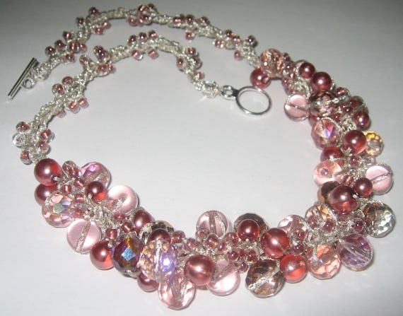 Deep Rose Pink Strawberry,  BUBBLES, Pearl Crystal, Bridal Jewelry -  Mother  of the Bride Hand  Knit OOAK unique  Necklace, Sereba Designs