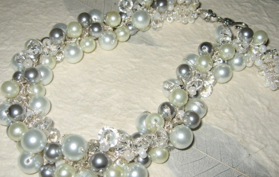 Custom Color Reserve for Kelly SILVERY MOON -  Ivory White, Silver Grey Pearls, Crystal, Hand Knit Cluster  Necklace