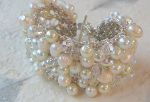 Freshwater Pearl Crystal  Wide Soft Hand Knit Bridal Wedding Bead Cuff Bracelet, White, Ivory Unique Original Exclusive, Sereba Designs
