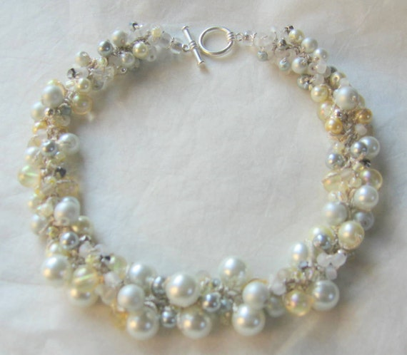 Bridal Wedding Necklace, Pale Yellow, Ivory, Cream, White, Grey, Pearl Crystal, Cluster, Hand Knit, Sereba Designs on Etsy