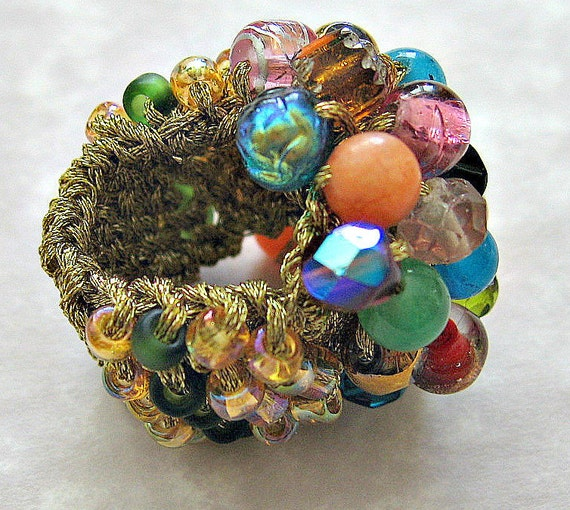 Chunky  Beaded Cocktail Ring , RAINBOW JEWELS, Hand Knit Glam Adjustable Sizing, Wearable Fiber Art