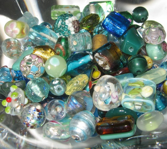 Czech Glass Bead Assortment, BLUE GREEN TEAL, Golden Yellow, Lime, Hand  Selected  Decorative Loose  Variety Mix