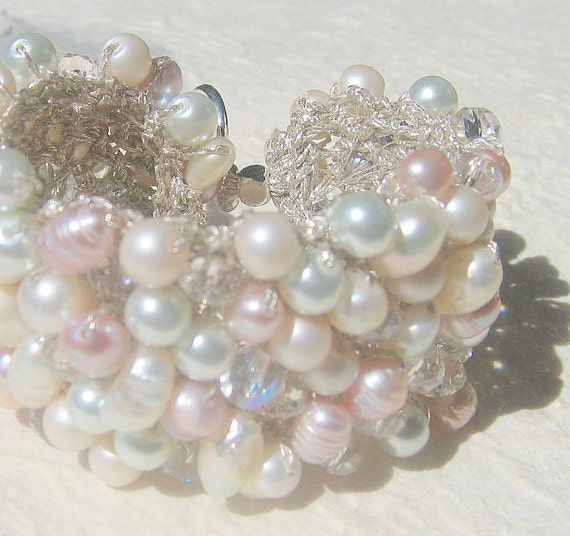 Romantic Bride Freshwater Pink Rose, White, Ivory, Pearl Crystal Hand Knit Bridal Statement Bracelet Cuff, Original, Sereba Designs