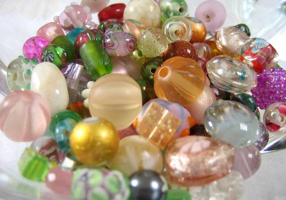 Glass Bead Assortment, Chunky Czech, Lamp work Loose variety Mix , ROSE GARDEN,  Pinks, Greens, Blue Green, Golden, Hand Selected