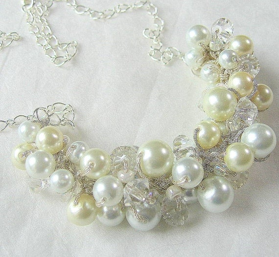 Ivory, White Pearl and Crystal Front Cluster Bib Style Bridal, Bridesmaid Party,Maid of Honor  Necklace, Artisan Hand Knit by Sereba Designs