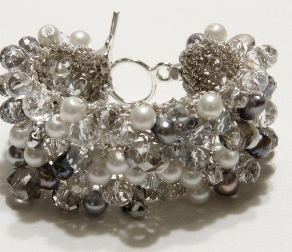 FROSTY WINTER Wedding Cuff Bracelet, Soft White, Grey, ICE Smokey Quartz, Sparkling Crystals, Freshwater Pearls, Hand Knit by Sereba Designs