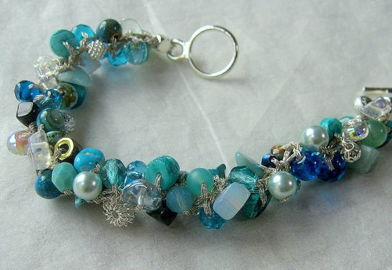 One of FIVE BRIDESMAID BRACELETS - Custom Reserve Color for Holly- Tiffany Blue Hand Knit Beaded Spiral