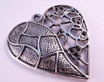 Silver Heart  Pendant Heart Pendant Heart Bead Silver Findings Focal Bead Metal Bead